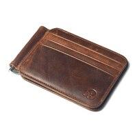 Genuine Leather Money Clip Wallet For Men Vintage Metal Moneyclip Credit Card Case Slim Dollar Wallet