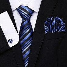 100%Silk Men Tie Set Floral Yellow Blue Ties Handkerchiefs Cufflinks Set Men's Wedding Party Suit Fashion Neck Tie