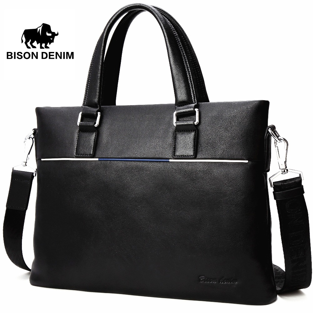"BISON DENIM Genuine Leather Bag Men Briefcase Slim 14"" Laptop Bag Brand Mens Leather Messenger Bags Black Handbag N2692-3B"