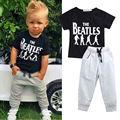 Nuevo verano venta caliente 2 unids Baby Boy letra de los niños impreso manga corta camiseta Tops + pantalones traje traje de la ropa 2 - 6 T
