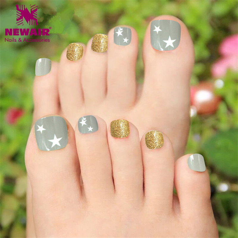 Star Design Toe Nails Glitter False Fake Toe Nail With