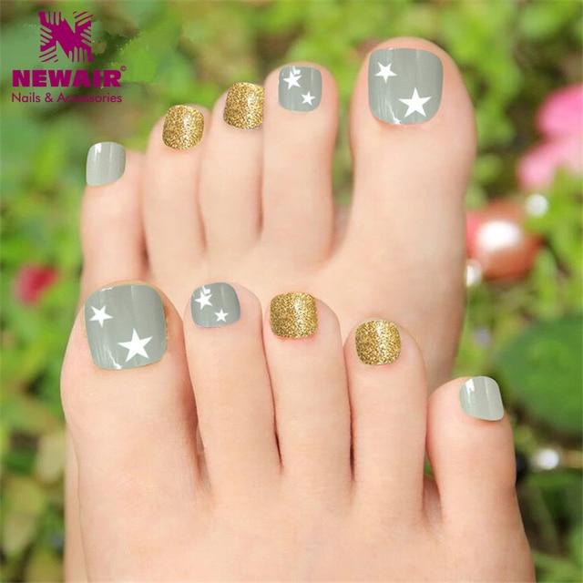 Star design toe nails glitter false fake toe nail with glue star design toe nails glitter false fake toe nail with glue artificial women sexy nail art prinsesfo Images