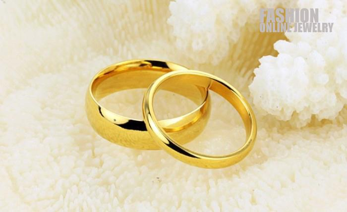 TSR316 Fashion 316L Stainless Steel Gold Color Couple Rings