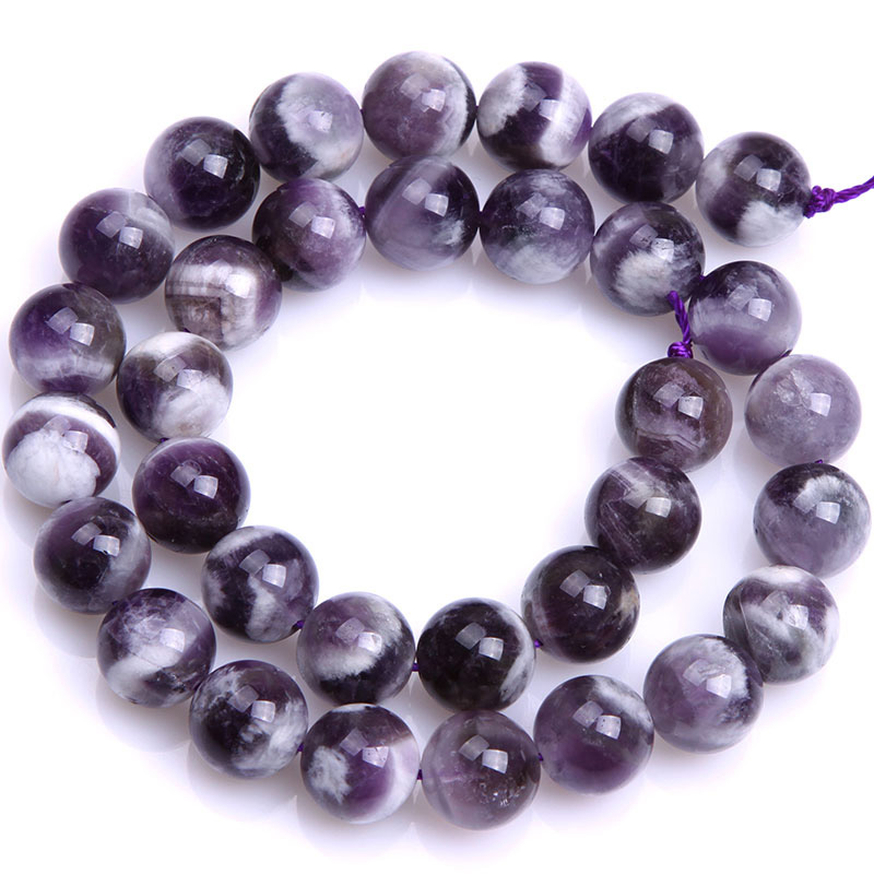 Круглые бусины фиолетового кружевного аметиста, незакрепленные бусины из натурального камня для изготовления ювелирных украшений, нитка 15 дюймов - Цвет: 12mm