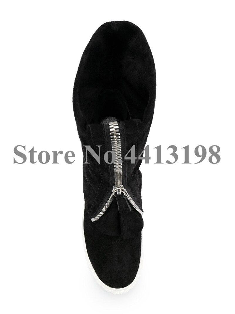 Zipper Picture Stiefel Casual Schuhe Frauen Zunehmende Mitte auf Cm Concise Slip Schwarz Höhe Flache As Flock Runde Für Front Wade 8 Kappe t1BfxAIqw