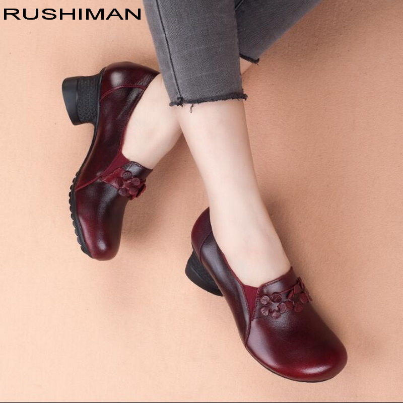 RUSHIMAN Vintage Flat Shoes Women 2018 Genuine Leather Soft Ballet Flats comfortable Casual Autumn Pregnant Women