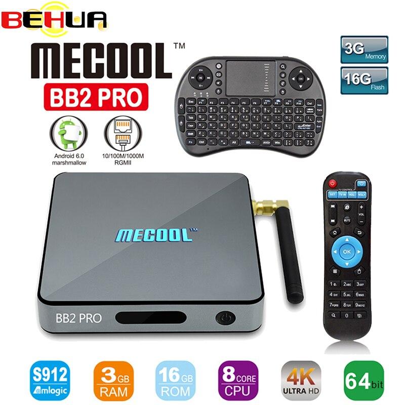 MECOOL BB2 Android TV Box Amlogic S912 64 bit Octa core ARM Cortex-A53 3GB 16GB 4K WiFi BT4.0 2.4G/5.8G Wifi Smart Set-top Box mecool bb2 pro amlogic s912 3gb ddr4 16gb emmc tv box rii i8 black