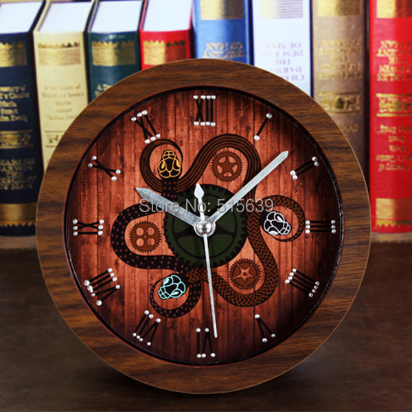 Mysterious 3 Snake Gear Retro Alarm Clock Wooden Watches Silent Desktop Clocks