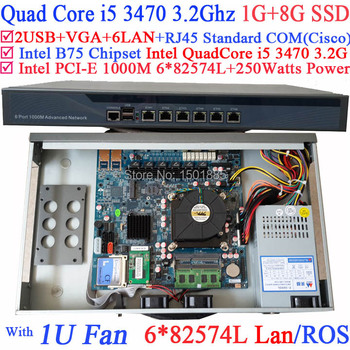 6 Gigabit 82583v LAN 1U Firewall router pc with Intel Quad Core i5 3470 3.2G Wayos PFSense ROS support 1G RAM 8G SSD