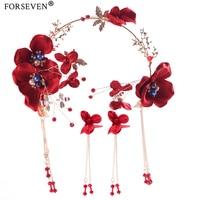 100 Handmade 3Pcs Red Flower Pearl Wedding Tiara Hair Jewelry For Bride Hiar Accessories Chinese Wedding