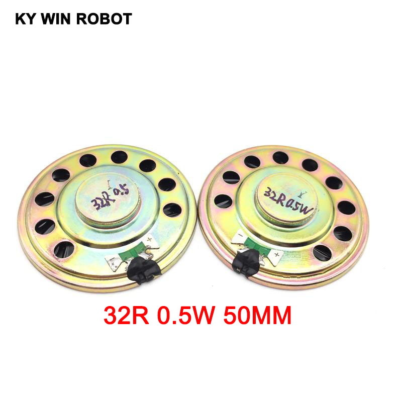 2pcs/lot New Ultra-thin Speaker 32 Ohms 0.5 Watt 0.5W 32R Speaker Diameter 50MM 5CM Thickness 9MM