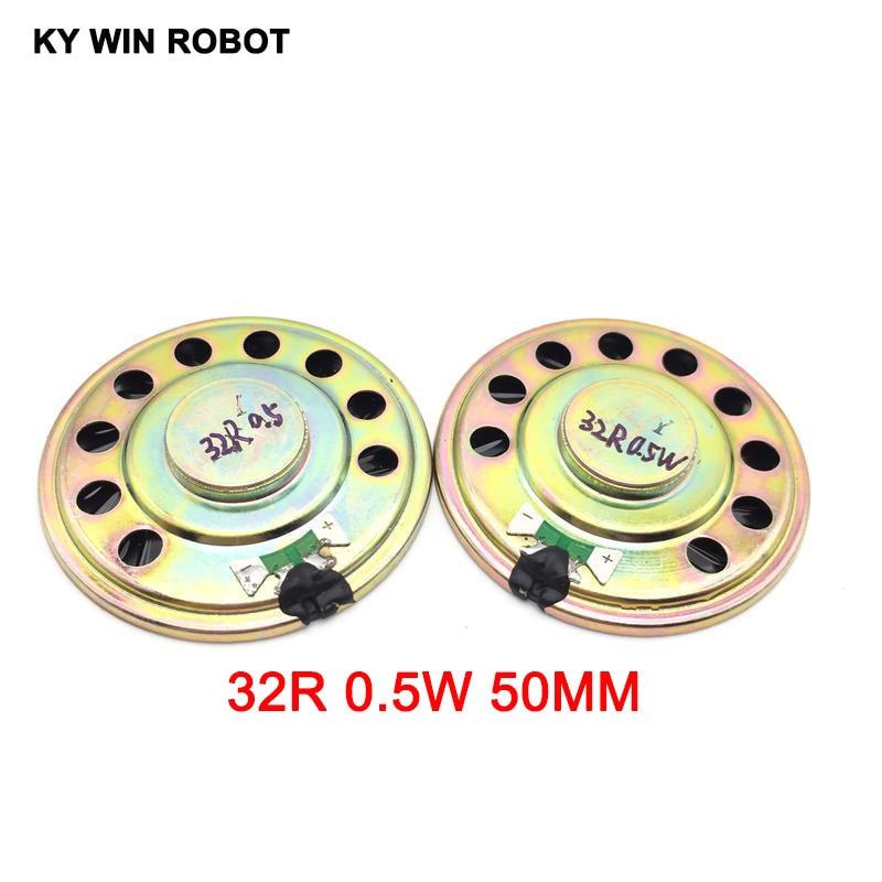 2pcs/lot New Ultra-thin Speaker 32 Ohms 0.5 Watt 0.5W 32R Speaker Diameter 50MM 5CM Thickness 9MM