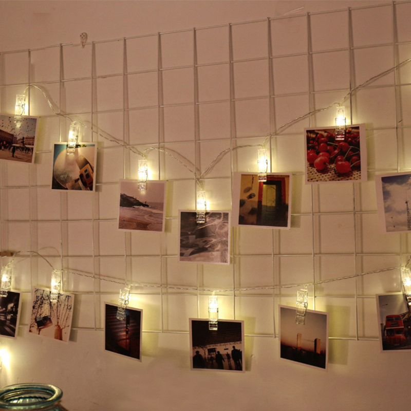 Fast Shipping 1.5M 10 LED Hanging Card Picture Clips String Light 2xAA Battery On/Flash/Off Switch Led Bulbs, Pendants Light