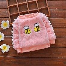 BibiCola winter sweater baby girls sweaters cotton fashion outerwear toddler cartoon bee plus velvet warm clothing for baby girl недорого
