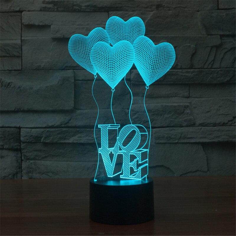 LED Table Lamp Rechargable Night Light Luminaria 3D lamp Colourful Heart Sensor Light Veilleuse 3D Night Light With 7 Colours 3d table lamp luminaria led night light