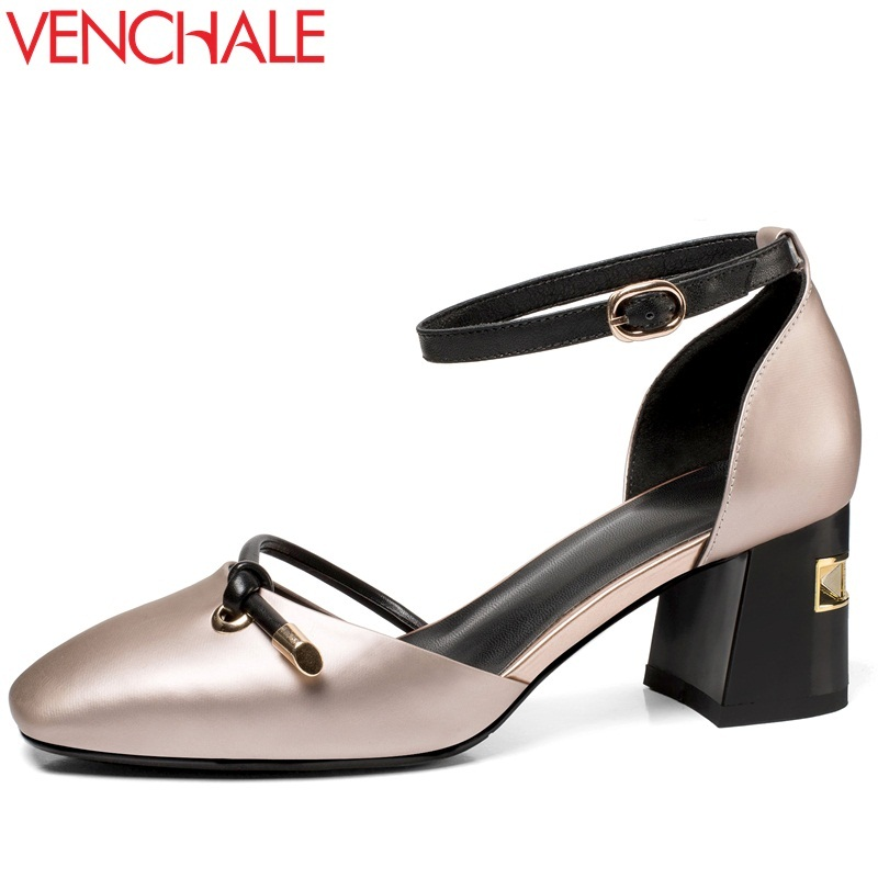 VENCHALE 2108 new heels shoes heel height 6 cm genuine leather square toe word buckle large size fsahion leisure ladies shoes venchale two heels options sheepskin