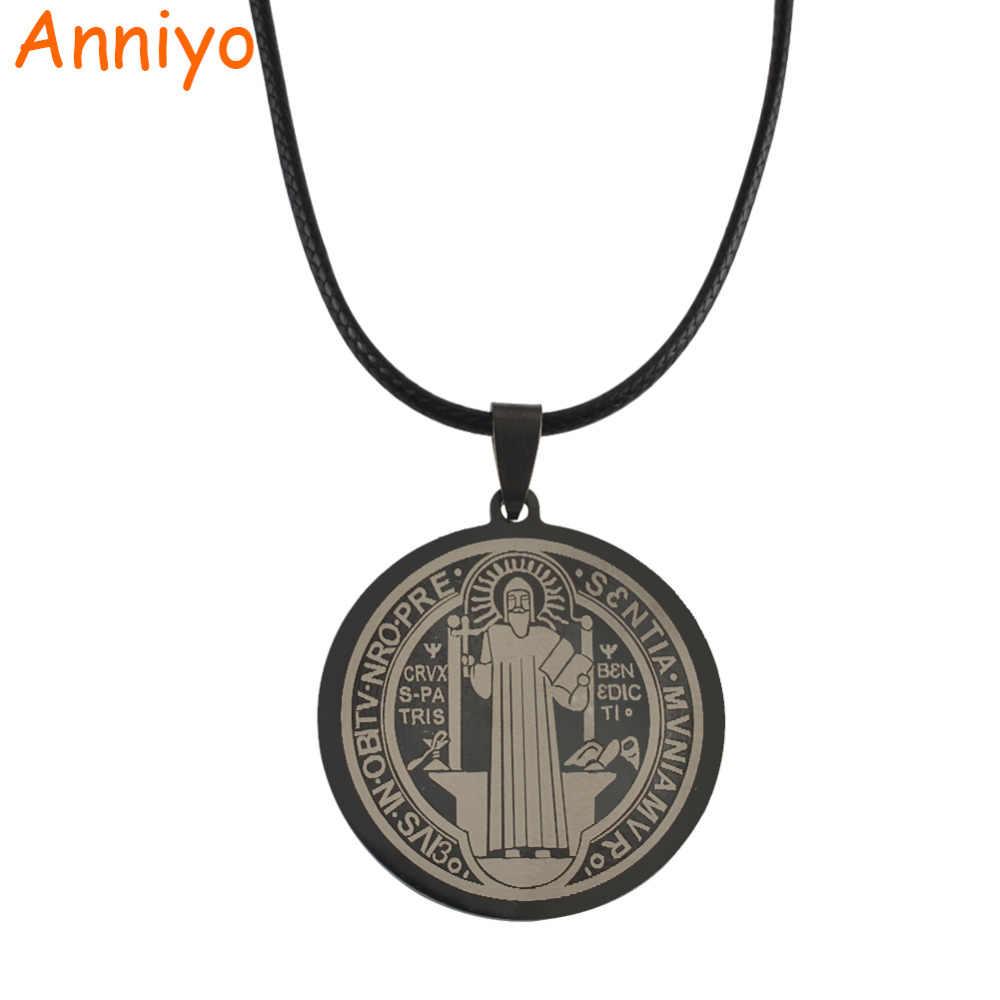 Anniyo Catholic Patron Saint Benedict Holy Medal Gold/Silver Color Necklace  Jewelry Women,Benedictine badge,VRSNSMV,SMQLIVB