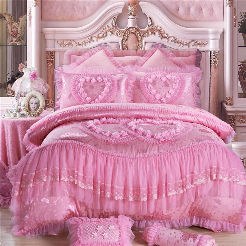 4 6 8pcs princess lace luxury bedding set queen king size for Bride kitchen queen set