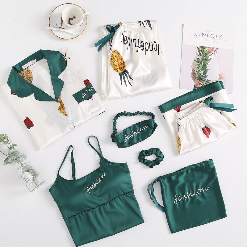 Summer Autumn 7 Pcs Set Silk Elegant 2019 Women Pajamas Print Shorts Long Sleeve Top Elastic Waist Pants Full Lounge Sleepwear