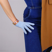 New Suede Womans Gloves Brushed Matte Dermabrasion Simulation Leather Light Blue Ultra-short 16cm TB113