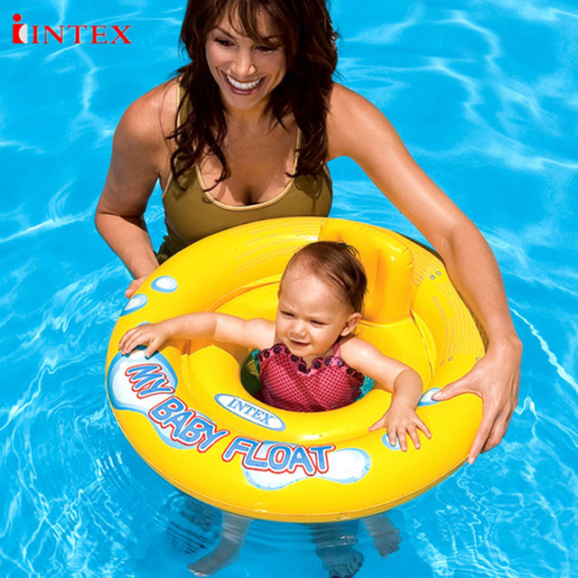 intex inflatable baby float water rider seat on water seat swim ring 67cm diameter swimming learning water play pool