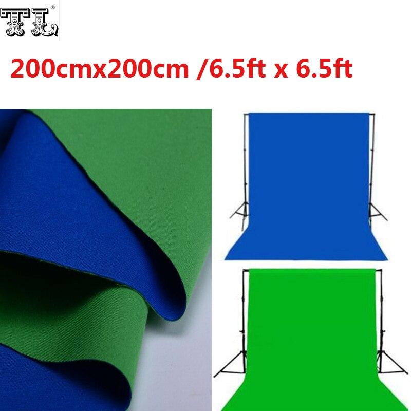 2x2 M Double 2 Face tissu 6.5ft x 6.5ft fond vert & bleu noir & blanc coton Chroma key mousseline fond d'écran matériel