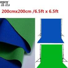 2 х 2 М Двойные 2 Лицо Ткань 6.5ft х 6.5ft Фон Зеленый и Синий Черный и Белый Хлопок Цветности ключ Муслин Экран Фонов материал