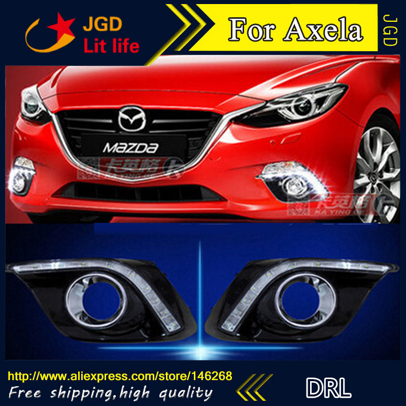 Free shipping ! 12V 6000k LED DRL Daytime running light for Mazda3 Mazda 3 Axela 2014 2015 fog lamp frame Fog light Car styling