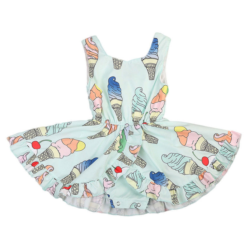 2017 New Baby Girl Summer Dress Sleeveless Ice cream Print Princess Girls Party Dresses Romper Outfits Sundress Clothes ruffles baby girl back cross dresses infant toddler girls sleeveless brown summer princess dress sundress clothes