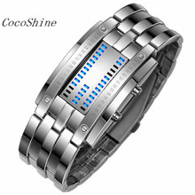 CocoShine A908 Luxury Men's Stainless Steel Date Digital LED Bracelet Sport Watches wholesale Free shipping