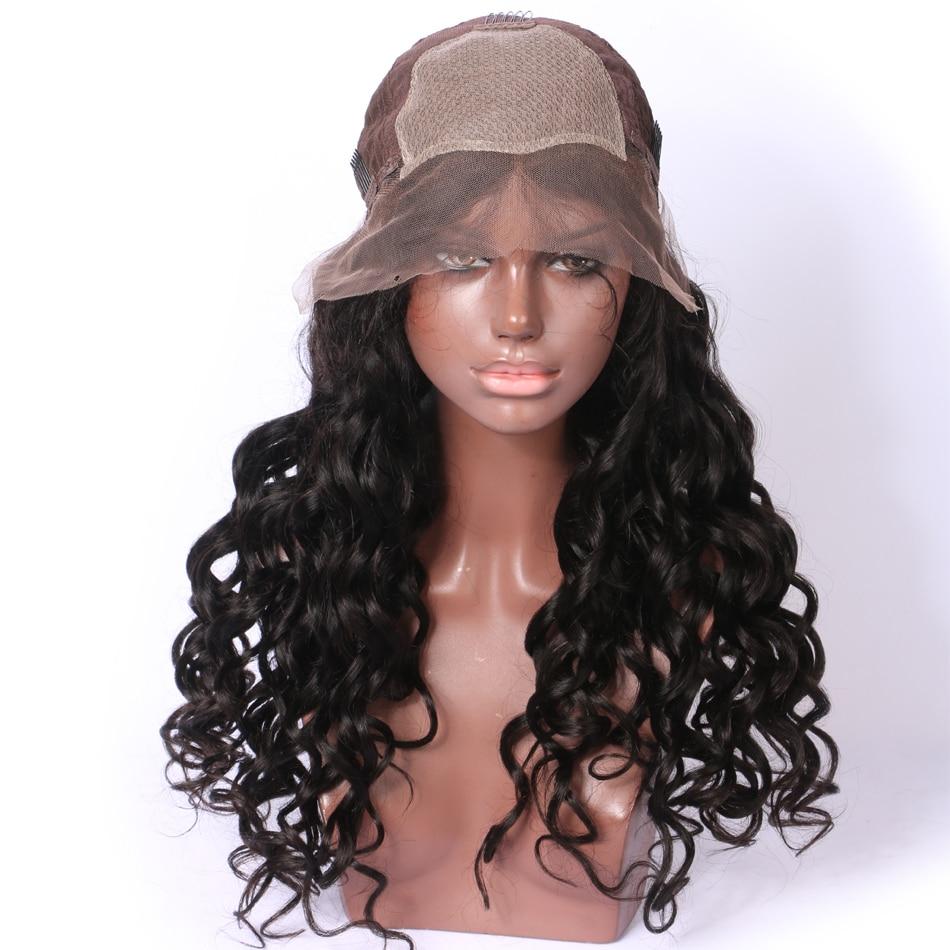 LUFFY Pre Pukan 250 Gostota svilene podlage Čipke Sprednje lasulje - Človeški lasje (za črne) - Fotografija 4