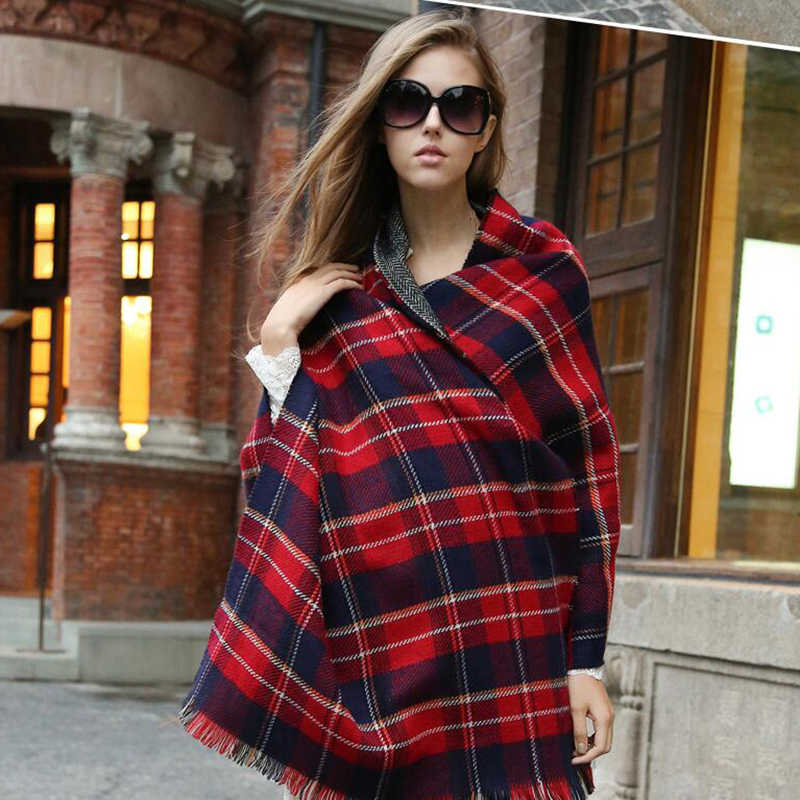 6d0e4c7cda4 ...  FEILEDIS Autumn and winter popular plaid ladies scarf oversized thick  shawl double-sided ...