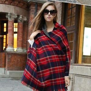 Image 5 - [FEILEDIS]Women Cashmere Scarves  Long Wraps Scarf Autumn Scarf England Classic Plaid Scarve