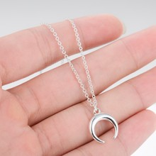 Jisensp Fashion Long Chain Necklace Set Cute Horn Necklace Crescent Moon Necklaces Pendants Boho Jewelry Gift bijoux femme(China)