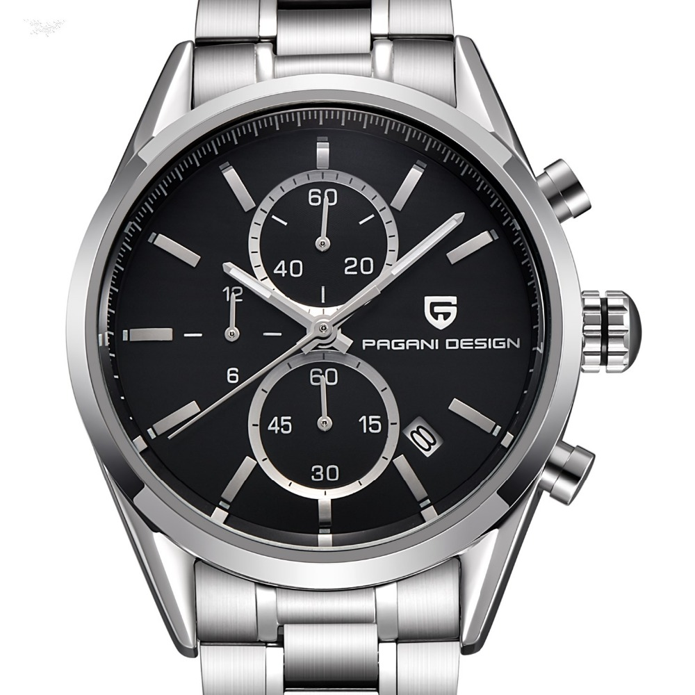 ФОТО Watches Men Luxury Brand PAGANI DESIGN Multifunction Fashion Casual Quartz Watch Dive 30m Genuine Leather Business Wristwatches