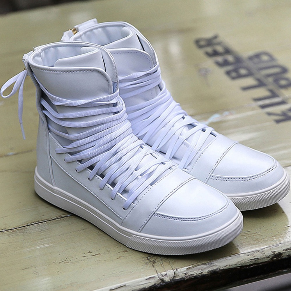 344a032861f3 Cool Fashion Personality PU Leather High Top Shoes Mens Hip Hop Rocky Ankle  Boots Casual Shoes Lace Tied At Back Trendy Hot Sale-in Men s Casual Shoes  from ...