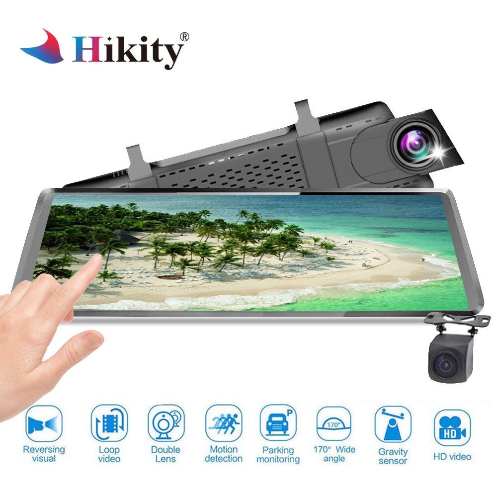 Hikity Volle HD 1080 p Auto Dvr Kamera Auto 10 ''Rückspiegel Digital Video Recorder Dual Objektiv Registratory Camcorder automobil