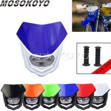 "H4 Testa Luce per Kawasaki KLX450R Yamaha WR450 WR250 TTR KTM SX EXC Dirt Bike Motocross Faro Dirt Bike Lampada w/7/8 ""Grip"