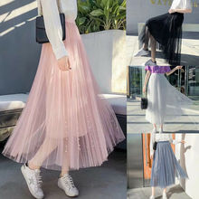 2019 Spring Autumn Tulle Skirts Womens Midi Pleated Skirt Black Pink Women Korean Elastic High Waist Mesh Tutu
