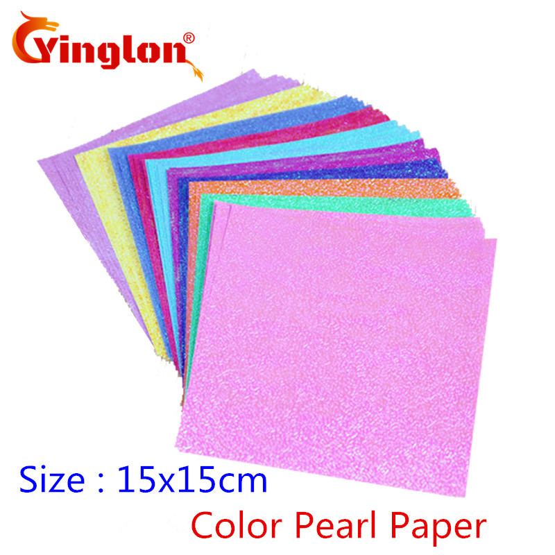 Free Shipping 25pcs/lot 15x15cm Square Shiny Craft Paper 10 Colors Pearl Paper Cranes Origami Child Handmade Kid DIY