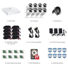 Outdoor/ Indoor Security Camera System with 8 x 5MP 2560*1920 HD CCTV Camera Pre-Installed 2TB Hard Drive