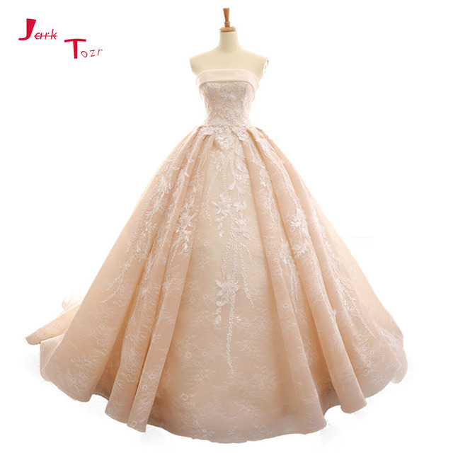 Custom Made Off The Shoulder Strapless Appliques Lace Ligt Pink Princess Ball Gown Wedding Dress Plus Size Gelinlik