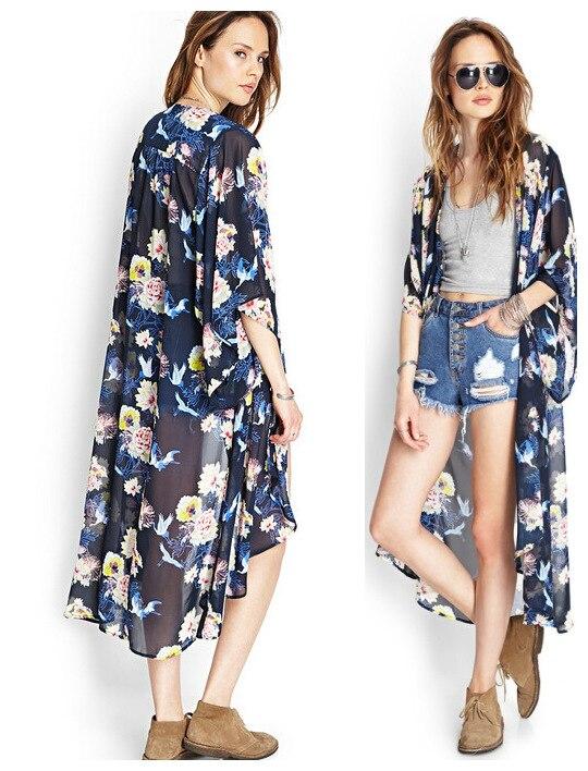 Summer Women Half Sleeve Floral Print Long Kimono Cardigan