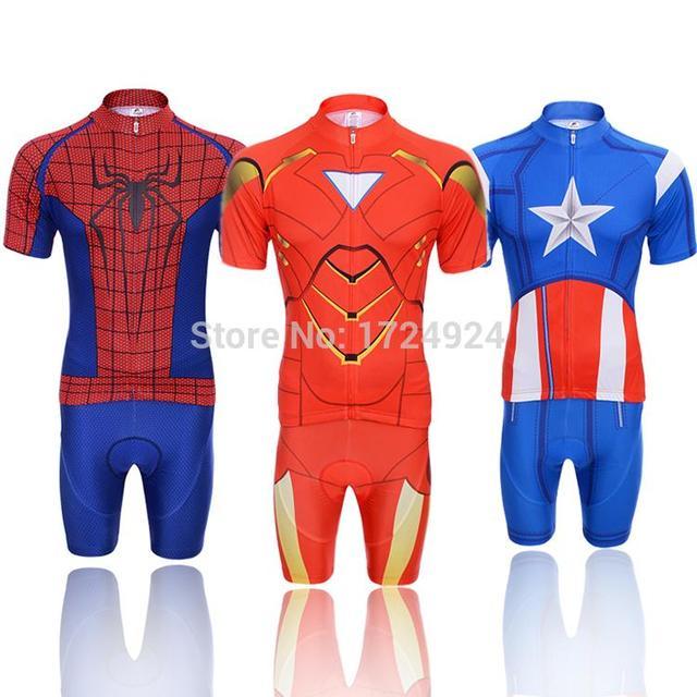 2015 Superhero Cycling Jersey Captain America Superman Spiderman