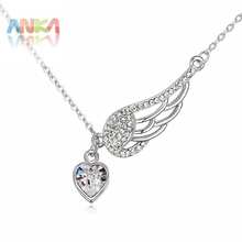2016 new necklace women Trendy necklaces & pendants Jewelry Wing And Heart Crystal Necklace Crystals from SWAROVSKI #103396