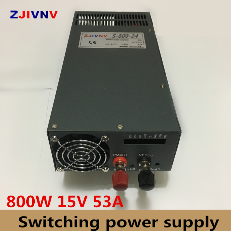 industrial and led used 800W switching power supply 15v 53a 220v to 15v dc power supply input 110v alimentation 15V industrial and led used 800w 15v 53a switching power supply ac dc power supply input 110v or 220v power supply unit adapter 15v