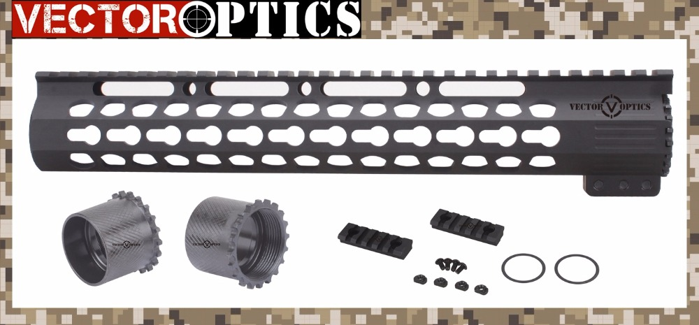 Vector Optics Slim KeyMod Tactical 12 inch AR15 M4 M16 223 / 5.56 Free Float Handguard Rail Mount Bracket with STEEL Barrel Nut