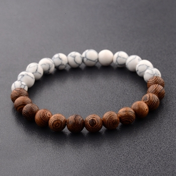 Elastic Natural Wood Beads Bracelet Bracelets Jewelry New Arrivals Women Jewelry Metal Color: 1