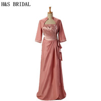 H&S BRIDAL Long Sleeve Jacket mother of the bride dress 2019 Taffeta Pleated Beaded mother of the groom dresses godmother dress
