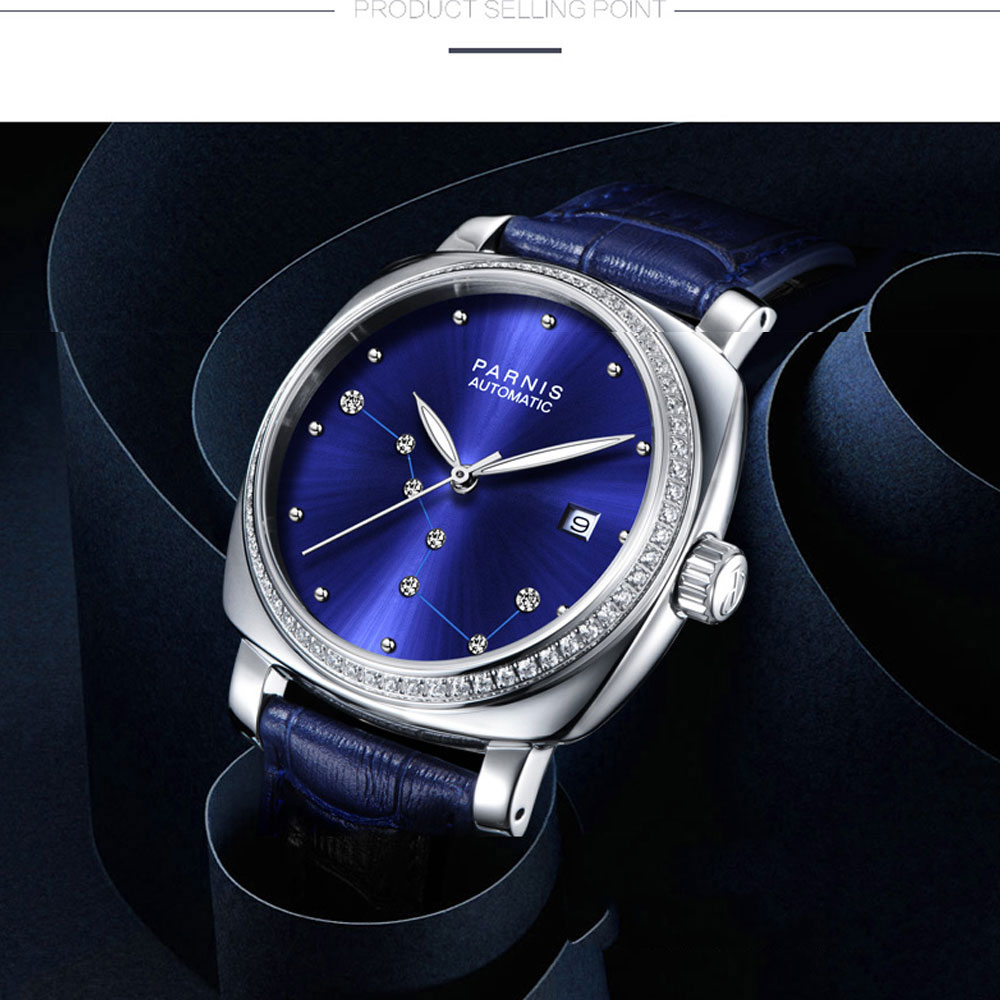 Image 2 - Luxury Brand 39mm Parnis Blue Dial Sapphire Glass ladies Date Leather strap women's Automatic Movement men's Watch-in Mechanical Watches from Watches